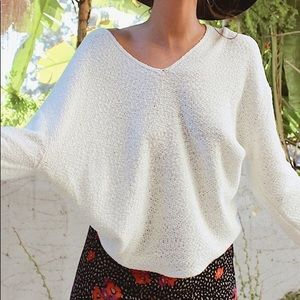 UO Coconut Reversible V-Neck Tunic Sweater